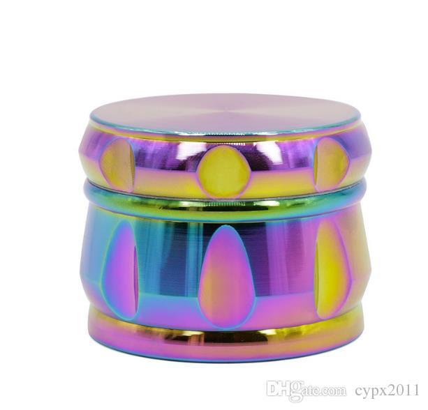 Zinc aleación cuatro capas de color del arco iris tipo tambor azul hielo color chaflán molinillo nuevos fumadores