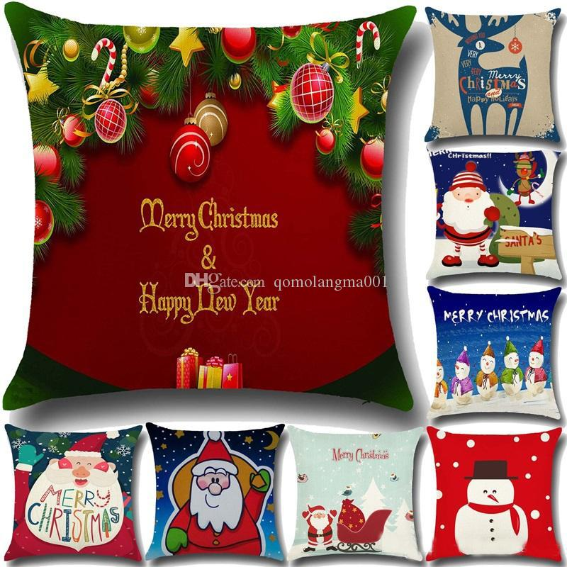 Koltuk Rahat Noel Baba Baskılı Yastık kılıfı Pamuk Dekoratif Yastık Kılıf için Yüksek Qulity Noel Yastık Örtüleri