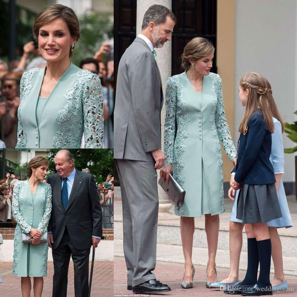 Menta verde ginocchio lunghezza pizzo madre della sposa abiti vestito da sposa abito da sposa con maniche lunghe Giacca Plus Size Abiti da Formali