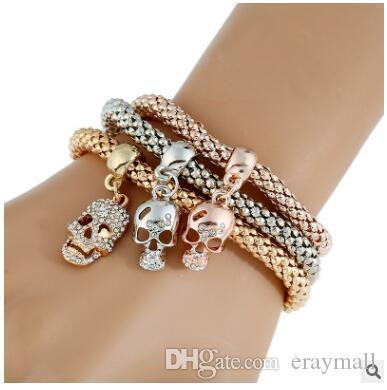 L'elastico catena di mais tricolore vestito bracciali braccialetto fiocco di neve a più strati del braccialetto del diamante tre stili possono scegliere