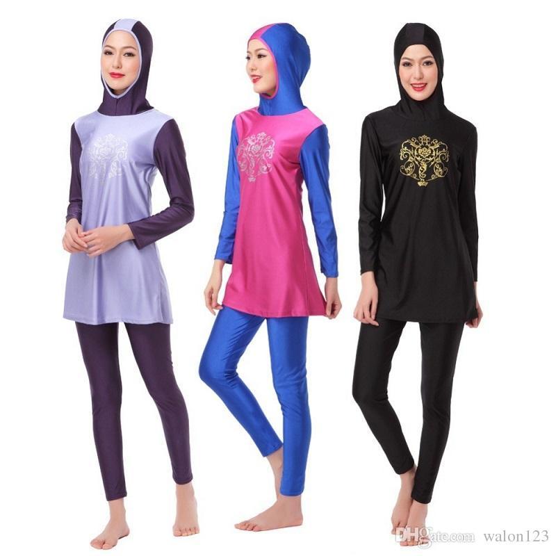 Commercio all'ingrosso costume da bagno musulmano costume da bagno islamico per le donne Hijab Swimwear Completa Copertina di costume da bagno Piscina Beachwear musulmano Trasporto libero
