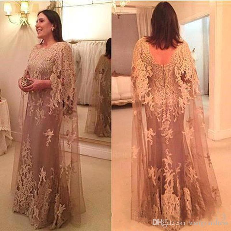 2018 New Vintage Applique Lace Mother Of The Bride Dresses With Cape Sheath Backless Dresses Evening Wear Floor Length Wedding Guest Dress