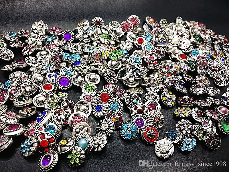 all'ingrosso assortiti 100pcs argento antico 12mm zenzero Snap charms bottoni fai da te con strass CZ nuovissimi mix design