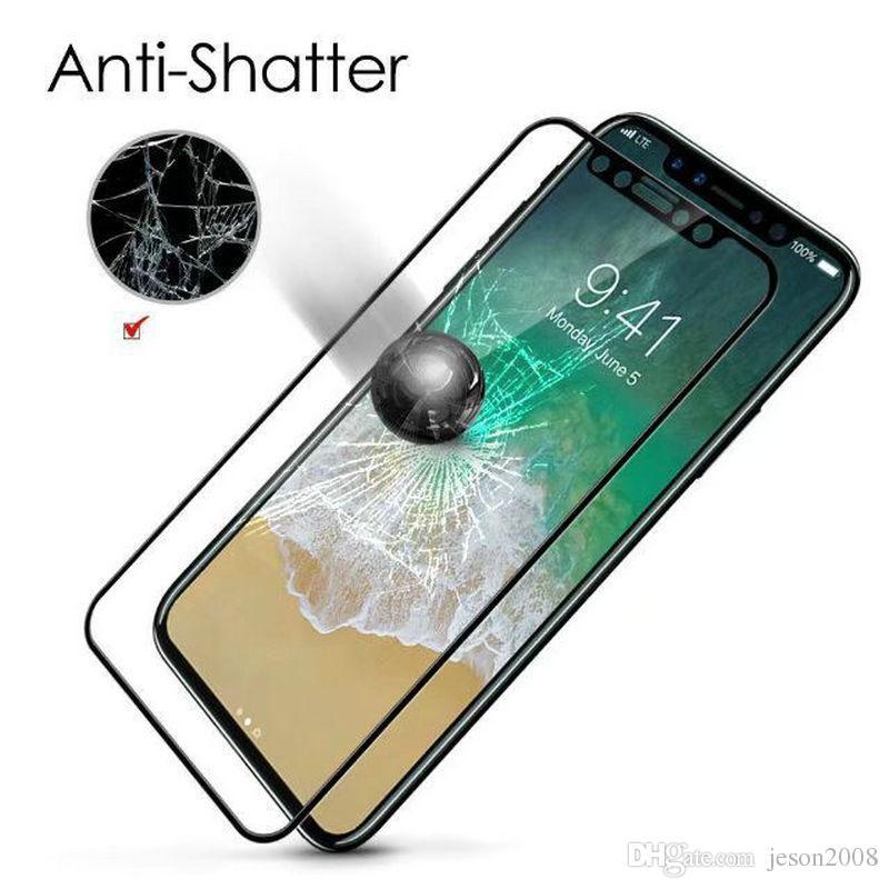 3D Pantalla completa cubierta de vidrio templado para iPhone X 6 6S 7 7 Plus Película protectora de pantalla Corved Edge vidrio completo