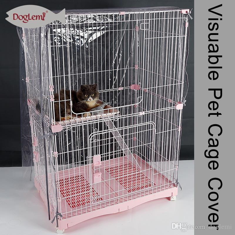 Free shiping ! Doglemi Animal Pet Cage Cover Visuable Waterproof Cat Crate Covers Dog Kennel Cover Transparent EVA
