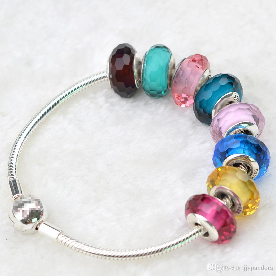 EDELL Wholesale Fashion 925Sterling Silver Screw Fascinating section Glass Beads Fit Pandora Jewelry Charm Bracelets & Necklaces Collocation