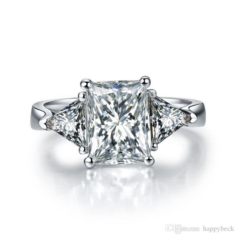Dossy Jewelry 3Ct diamante sintetico Anello di fidanzamento per le donne Solid 925 Sterling Silver Ring Brilliant Forever Jewelry