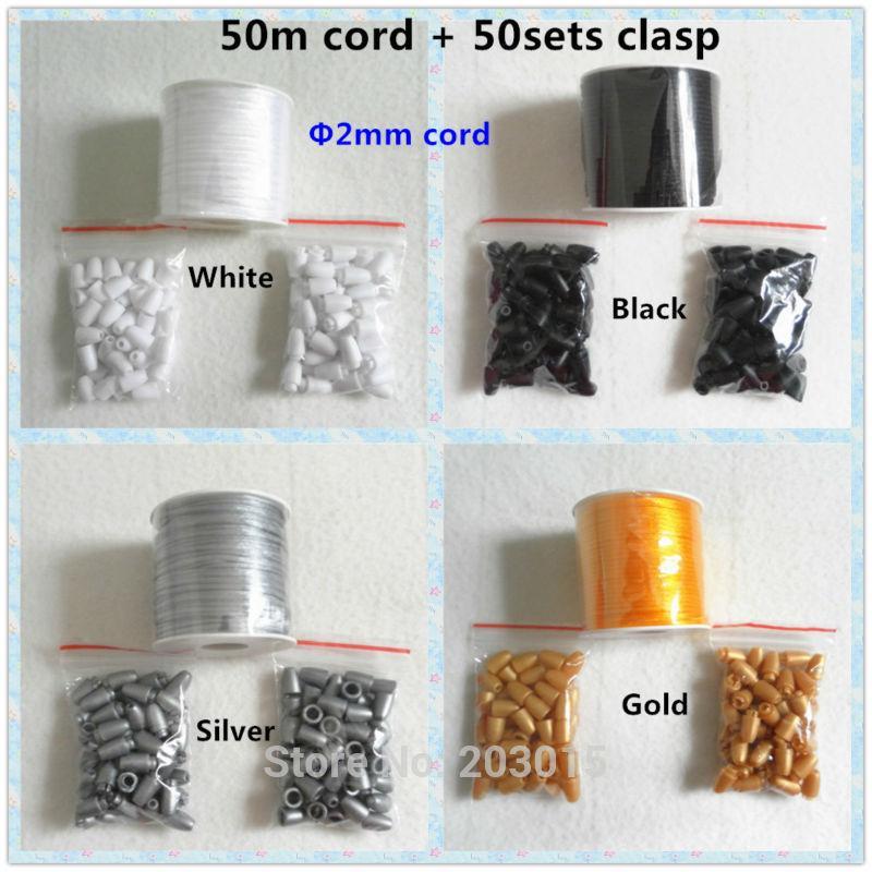 Wholesale-50meter 2mm صقيل الحبل مع السلامة الانفصالية البلاستيك المشابك ل DIY سيليكون التسنين قلادة قلادة الطفل