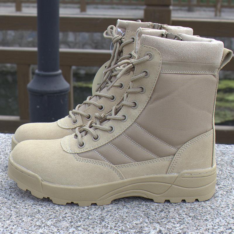 Wysokiej jakości Tanie Buty Desert Tactical Army Swat American Combat Boots Outdoor Hiking Buty Polowanie Oddychające Wearable Boots