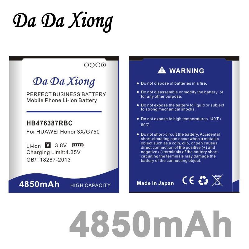 Da Da Xiong 4850mAh HB476387RBC Bateria para Huawei honra 3X G750 B750 G750-T00 G750-C00