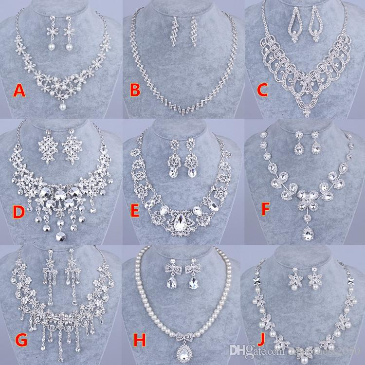 Beauty Silver Flower Pearls Bridal Necklace Tiara Earring Suits 3 pieces Jewelry Suits Wedding Bridal Jewelry P419001