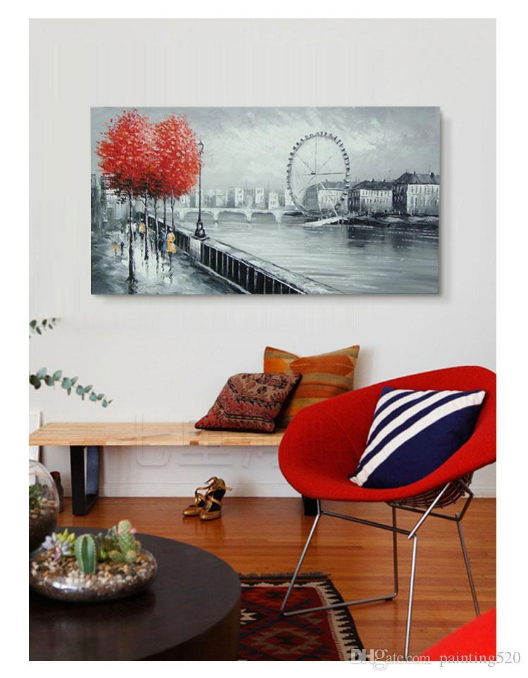 100% peint à la main moderne salon salle à manger passerelle simple style décoratif palette épaisse toile à l'huile couteau peinture JL501