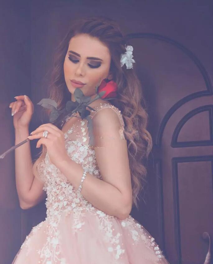 Asombroso Vestidos De Novia De Longitud De Té De Color Rosa Molde ...