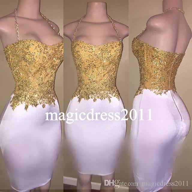 세련된 골드 칵테일 파티 드레스 시스 아가씨 짧은 미니 레이스 섹시한 아프리카 연예인 저녁 아랍 드레스 댄스 파티 드레스