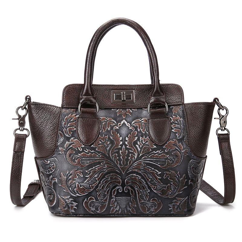 New Womens Shoulder Bags Oil Wax Cowhide Genuine Leather Floral Embossing Handbags Vintage Crossbody bags Messeanger bag free shipping