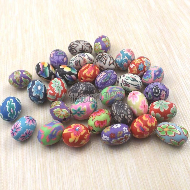 Beads de argila de polímero de forma de ovo 11x15mm misturado cor de argila de cor para colar fazendo frete grátis 250pcs
