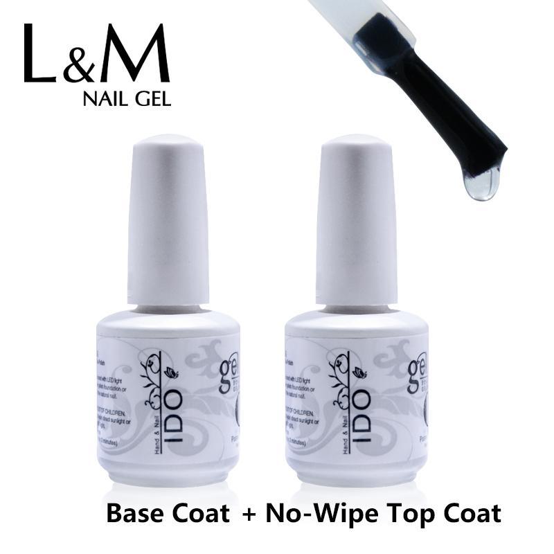 Großhandel-IDO 2 Stück Foundation Polish Nails Gel-Set (1 Basis-Gel + 1 No Wipe Top Coat) 30 Tage lang anhaltend gut verpackt kein Leck UV-Nagel