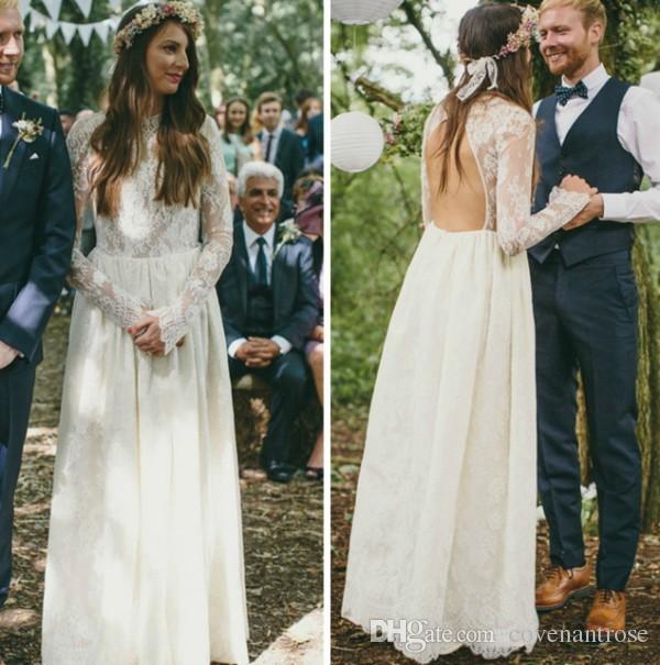 2017 spitze Brautkleider High Neck Sheer Langarm Schlüsselloch Zurück Bodenlangen Boho Brautkleider Günstige Hochzeit Kleid
