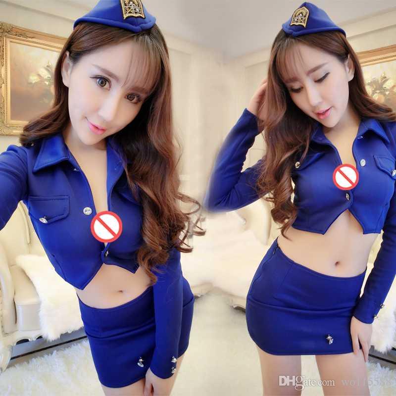 Free shipping sexy lingerie sexy stewardess policewoman instructor nightclub skirt suit OL uniform wear costumes temptation of night games