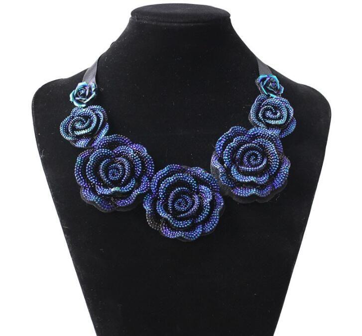 Yeni Moda Takı Büyük Reçine Kristal Mavi Çiçek Kolye Kolye Bildirimi Bib Tıknaz Gerdanlık Kolye Ücretsiz gemi