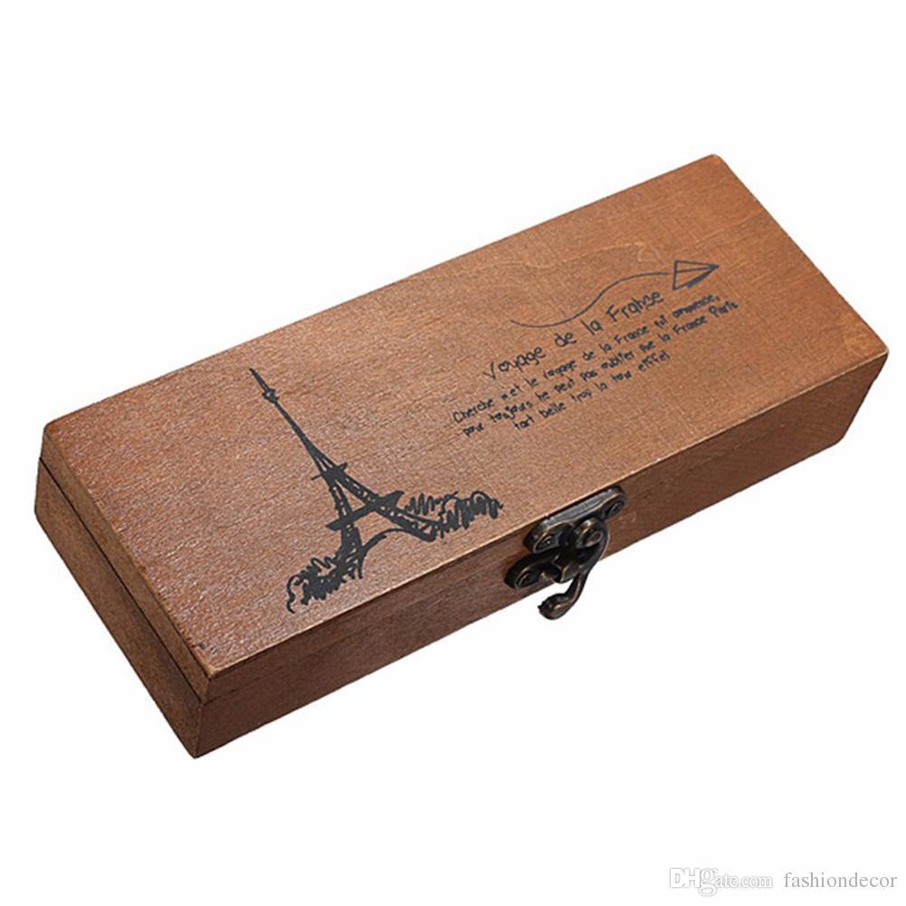 Retro Aufbewahrungsbox Eiffelturm Stift Federmäppchen Halter Schreibwaren Lagerung Holzkiste Haushalt Stift Speicherorganisator 19,5 * 7 * 4 cm