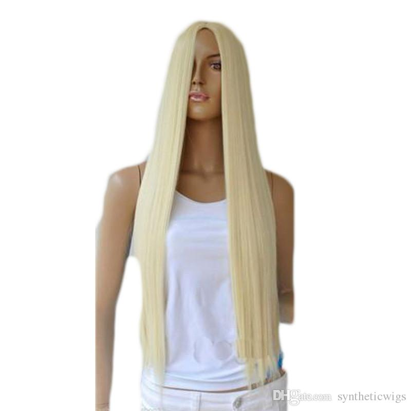 WoodFestival long straight blonde wig women synthetic hair wigs soft fiber hair for white women heat resistant full wig female fashion