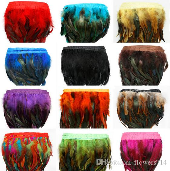 1Yard/Piece 12 Colors for Selections Rooster Tail Wedding Bride Dresses Decoration Skirt Feathers Party Decorative Boas Strip