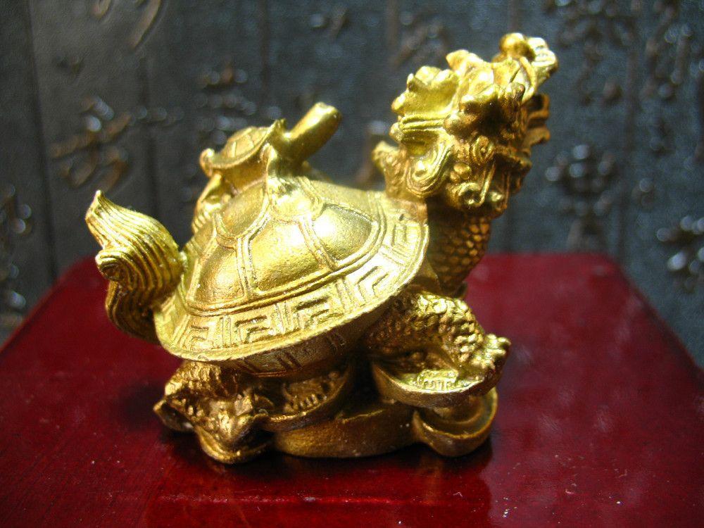 ремесла украшения фарфора латунь фарфора фэншуй латунь дракон черепаха Черепаха богатства повезло статуя металлические ремесла украшения дома подарок