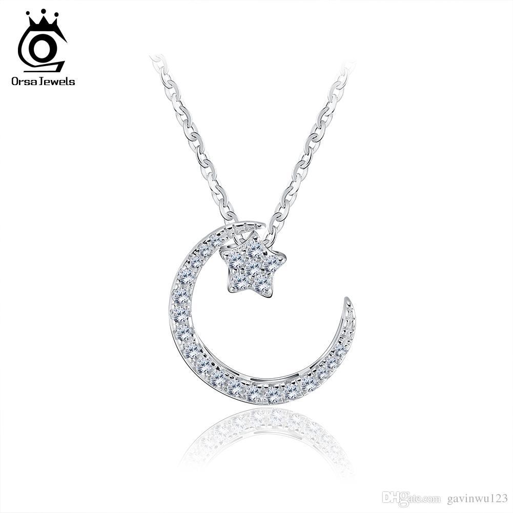 Orsa jóias 925 esterlina loss lua estrela pingente colares com cristal austríaco para mulheres genuíno presente de jóias de prata SN06