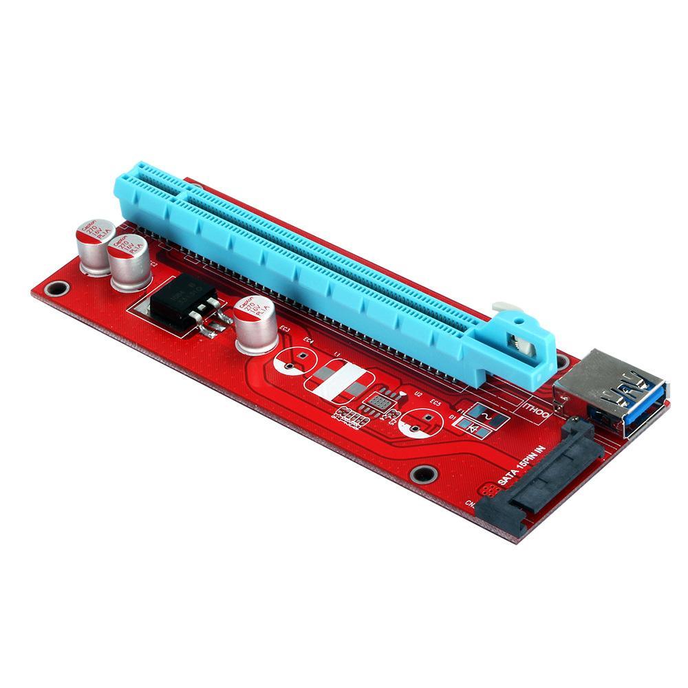 Бесплатная доставка 10 шт. Новый красный VER007S PCI Express Riser Card От 1 до 16 раз PCI-E Riser Удлинитель 60см USB 3.0 Кабель 15Pin SATA для BTC Mining rig