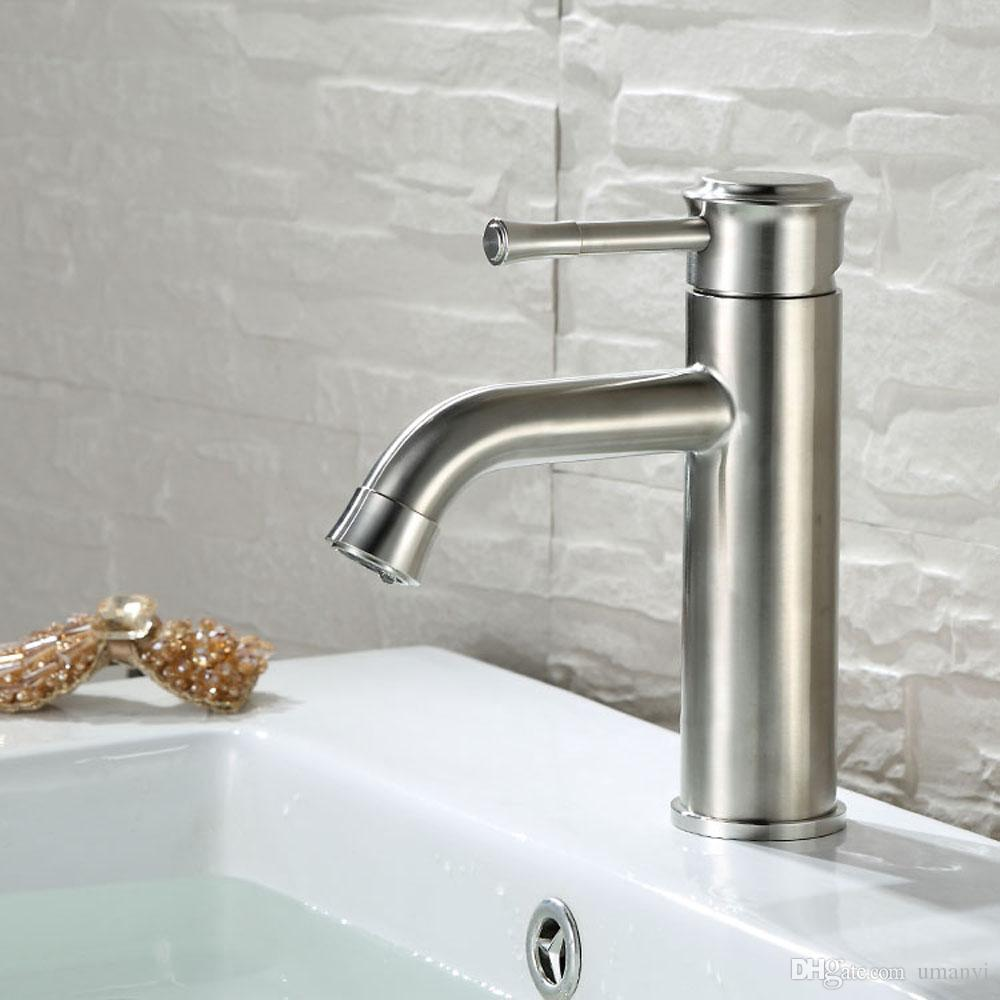 Modern 304 Stainless Steel Bathroom Sink Faucets Nickel Brushed Single Handle Single Hole Hot Cold Mixer Deck Mounted Basin Taps SSMP009