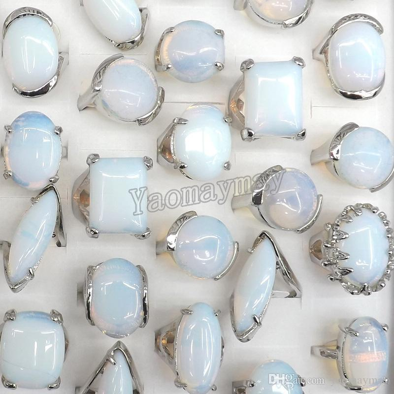 50pcs / lot mischte die Form-große natürliche Opal-Ring-Halbedelstein-Ring-Fabrik-Preis-freies Verschiffen