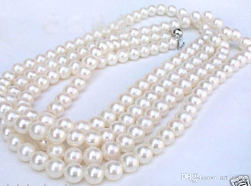 "long 50 ""collier de perles d'eau de mer blanc 7-8MM véritable"