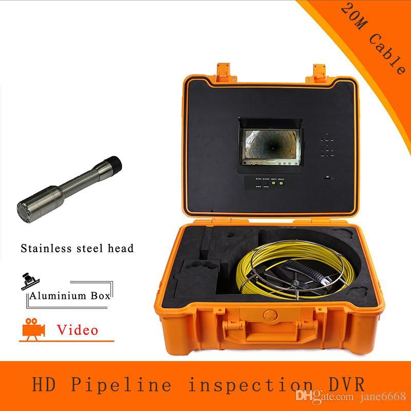 (1 takım) 20 M Kablo Boru hattı Kanalizasyon Muayene Kamera DVR HD 1100TVL Endoskop CMOS Lens Su Geçirmez gece sürümü Sondaj
