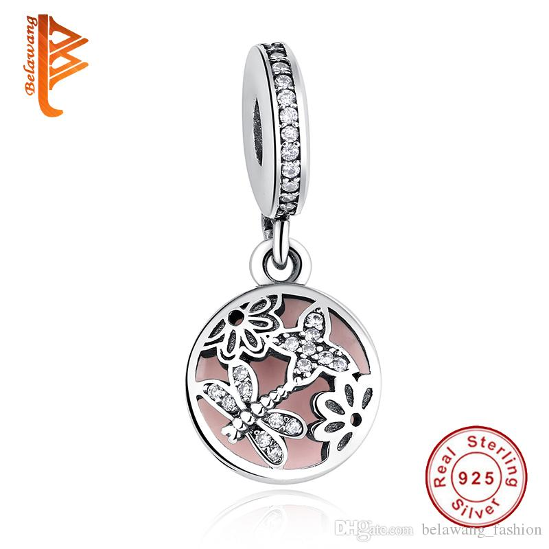 BELAWANG New 925 Sterling Silver Beads Butterfly Dragonfly Flower Pink Enamel Charm Fit Pandora Snake Chain Bracelets&Necklaces DIY Jewelry