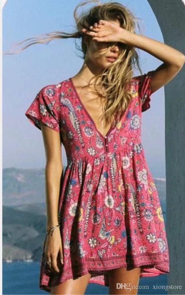 manches courtes 2019 femmes robes impression vintage de paon robe mini col en V impression courte douce boho plage sexy robe d'été robes