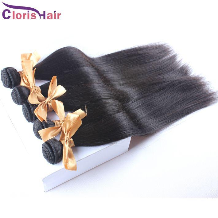 "Thick End Brazilian Hair Straight 4pcs Cheap Unprocessed Hair Extensions 100% Remi Human Hair Weave Bundles Deals Wholesale 10-28"" 1b"