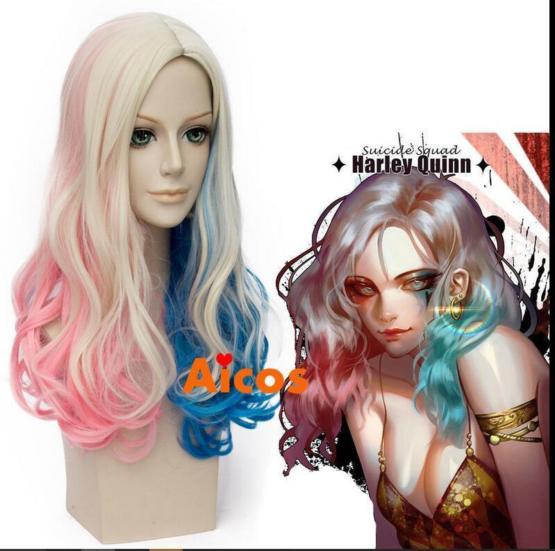 100% Novo de Alta Qualidade Moda Retrato perucas cheias do laço Peruca de Onda Longa para Batman Esquadrão Suicida Harley Quinn Cosplay Rosa Azul Loira Peruca