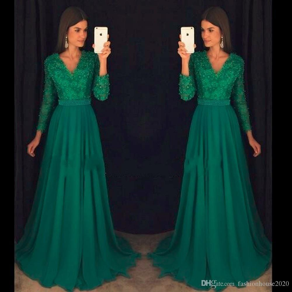 2004cbe0d88f Green Lace Long Sleeve Prom Dresses 2017 V Neck Pearls Sexy Open Back Cheap  Prom Dress Formal Pageant Gowns