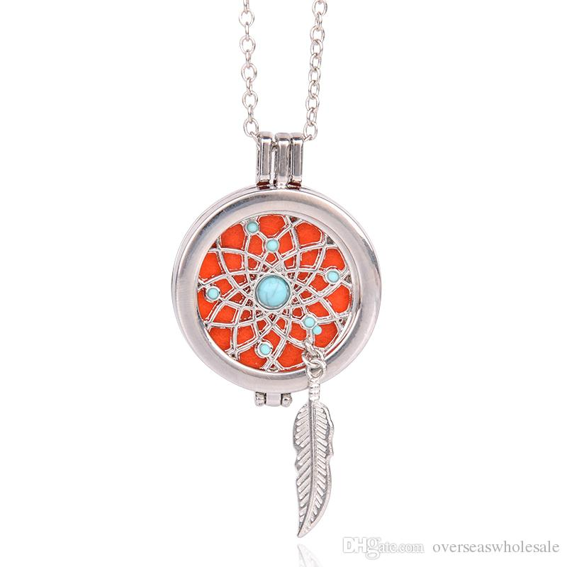Silver Locket Necklace Fragrance Essential Oil Aromatherapy Diffuser Pendant NEW