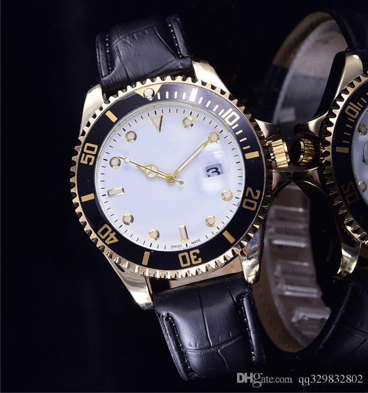 relogio masculino mens orologi Luxury fashion designer di moda quadrante nero calendario oro braccialetto in pelle Master orologio maschile 2017 regali amanti