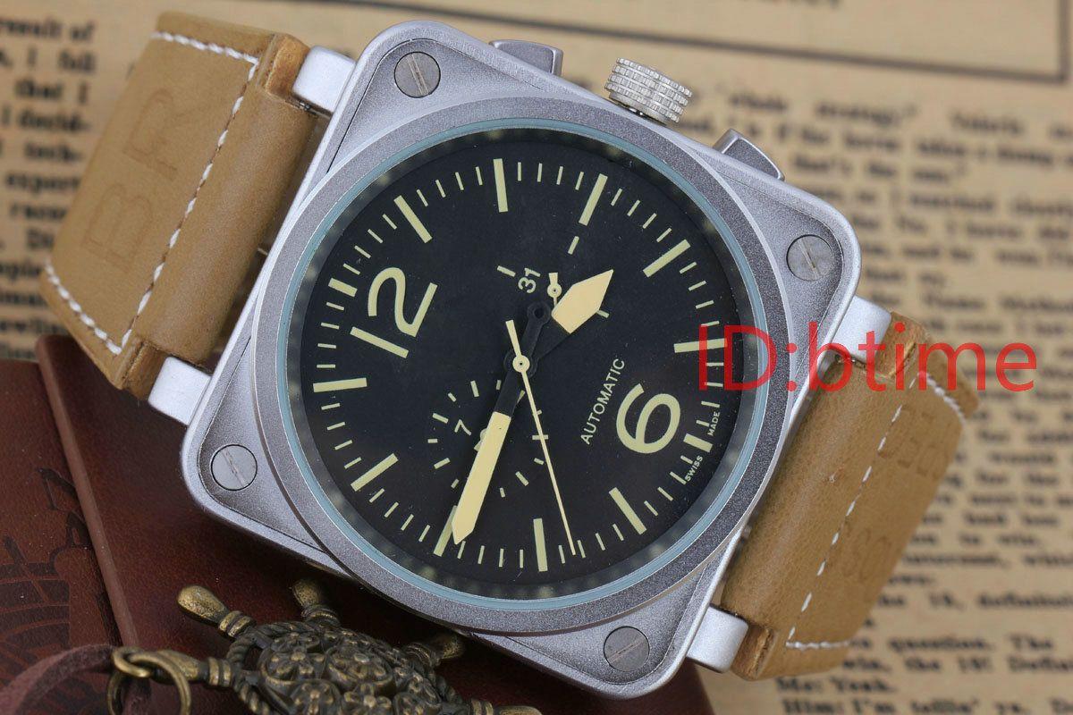 Los hombres de negocios Nuevo reloj automático para hombre de acero inoxidable Negro mecánica de goma campana de buceo PVD 46mm Big White Relojes masculinos