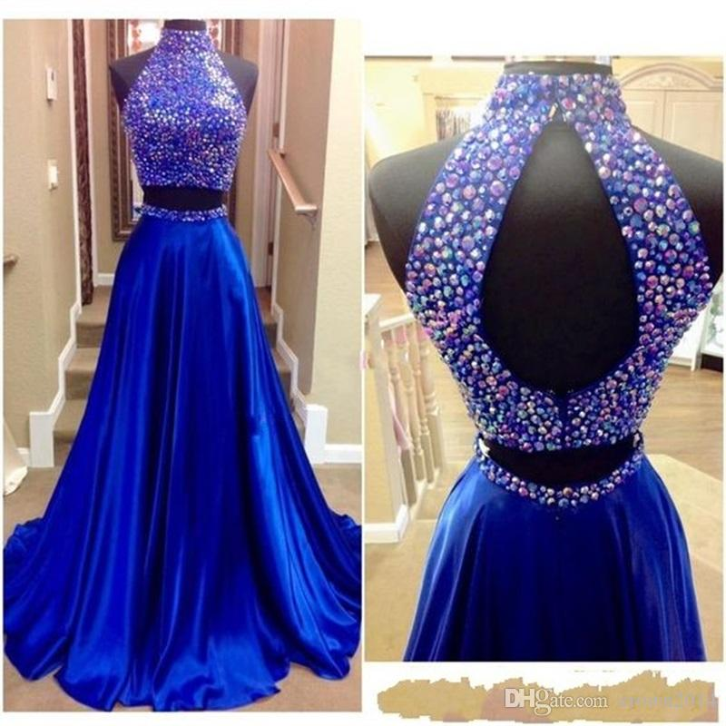 2019 Beaded High Neck Prom Dresses Two Pieces Royal Blue Sexy Keyhole Back Rhinestones Real Pictures Satin 2 Pieces Prom Formal Evenin Gowns