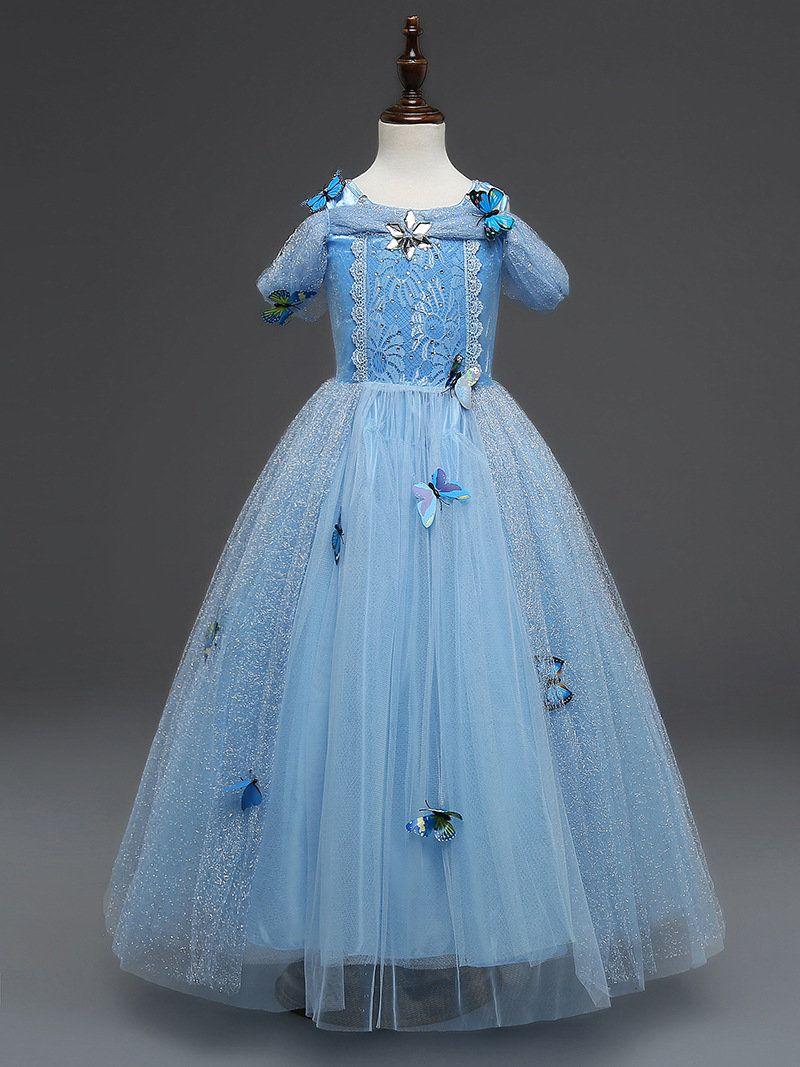 2018 Ins Long Evening Party Gown Dress Flower Princess Kids Girl ...