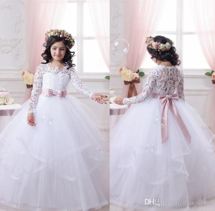 2017 robes de fille de fleur blanche pas cher pour les mariages robe de première communion petites filles robe de bal de bal