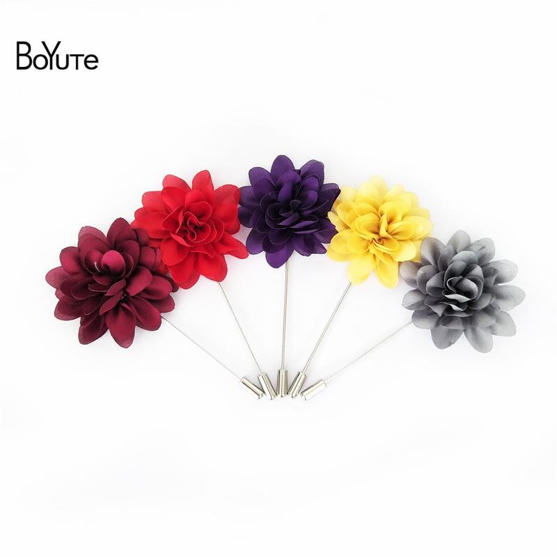 Ручной работы цветок брошь Оптовая 14 цветов мода мужчины отворотом Pin для костюм свадебные украшения