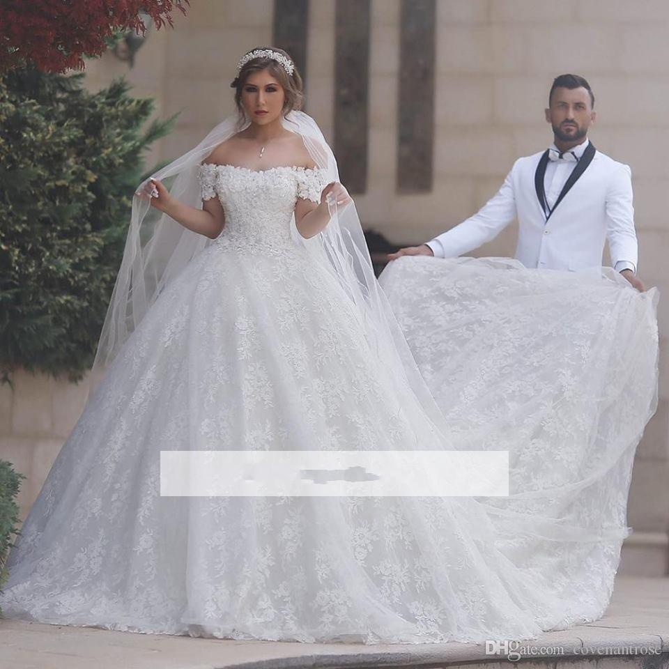 Modest Arabic Style Wedding Dresses Off Shoulder Full Lace Chapel Train Plus Size Vintage Wedding Guest Wear Bridal Gowns