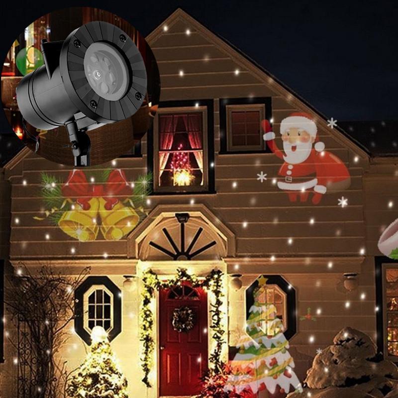 Natal Laser Do Floco De Neve Projetor Ao Ar Livre Lâmpada LED Luzes de Discoteca À Prova D 'Água Para Casa Jardim Luz Estrela Decoração Interior