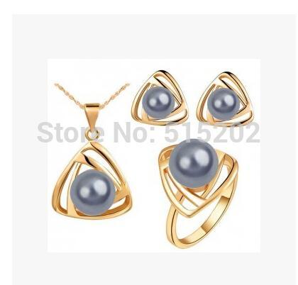 Мода треугольник Pearl Ювелирные наборы Charm Geometry ожерелье + серьги + кольцо Благородный ювелирные изделия для женщин LM-S104
