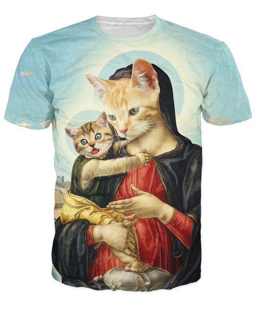 Toptan-Kutsal Anne ve yavru T-Shir Rönesans Dönemi Sanat ve Kediler Canlı Tees Yaz Tarzı T Gömlek Kadın Erkek Için Tops